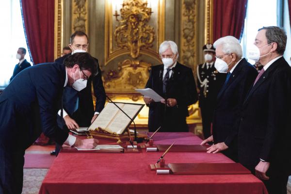 Giancarlo Giorgetti durante il Giuramento