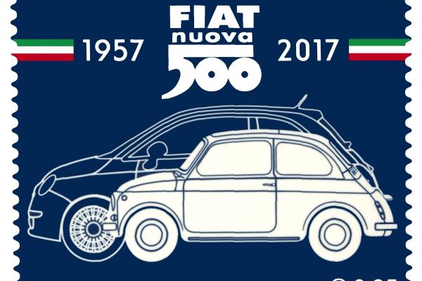Il francobollo celebrativo per i 60 anni della Fiat 500